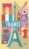 De Franse culturele symbolen van de pictogrammenstad voor prentbriefkaaren, cardboards Royalty-vrije Illustratie