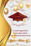De Franse kaart van de graduatiegroet, ook voor druk Stock Afbeelding