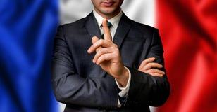 De Franse kandidaat spreekt aan de mensenmenigte Royalty-vrije Stock Foto's