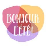 De Franse kleurrijke affiche van de helloczomer Stock Fotografie