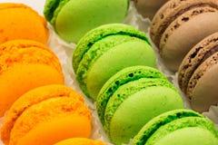 De Franse kleurrijke macaronsachtergrond, sluit omhoog Royalty-vrije Stock Foto's