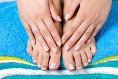De Franse manicure van vrouwen Stock Foto's