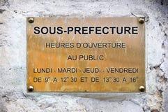 De Franse prefectuur van tekensous royalty-vrije stock fotografie