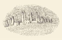 De Franse provincie, Van Gogh, het ontwerp van het wijnetiket, architectuur, wijnoogst graveerde illustratie Stock Foto