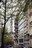 De Franse straat van Parijs met de Toren van Eiffel in perspectief trought bomen Royalty-vrije Stock Fotografie