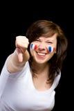 De Franse vrouwelijke verdediger toont duim onderaan gebaar royalty-vrije stock foto