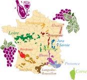 De Franse wijn van de kaart. Stock Afbeeldingen
