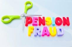 De fraude van het besnoeiingspensioen Stock Foto