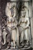 De fresko's in de kerk Angor Wat kambodja Royalty-vrije Stock Afbeelding