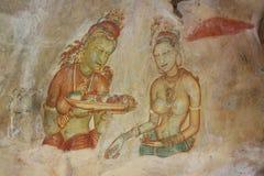 De fresko's van Sigiriya Royalty-vrije Stock Afbeeldingen