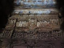 De fresko's zijn erotisch binnen de tempels van de Westelijke groep met inbegrip van visvanatha-Khajuraho, Madhya Pradesh, India, stock afbeelding