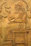 De fresko van Assyrian op de muur Stock Afbeelding