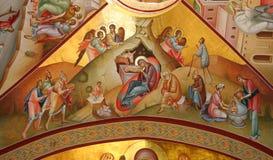 De fresko van de geboorte van Christus op Tabor stock foto's