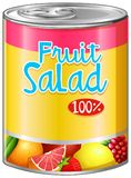 De fruitsalade in aluminium kan stock illustratie