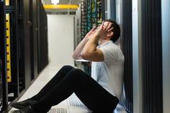 De frustratie van de server stock foto