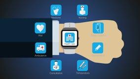 De functie van de gezondheidszorgtoepassing voor slim horloge, mobiel horloge (inbegrepen alpha-) royalty-vrije illustratie