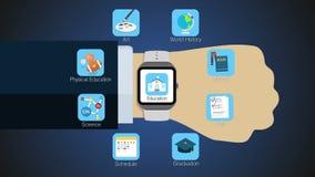 De functie van de onderwijstoepassing voor slim horloge, mobiel horloge royalty-vrije illustratie