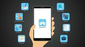 De functie van de onderwijstoepassing voor slimme telefoon, mobiel, Onderwijsinhoud royalty-vrije illustratie