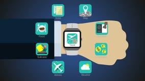 De functie van de reistoepassing voor slim horloge, mobiel horloge royalty-vrije illustratie