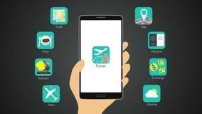 De functie van de reistoepassing voor slimme mobiele telefoon, vector illustratie