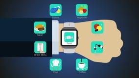 De functie van de voedseltoepassing voor slim horloge, mobiel horloge vector illustratie