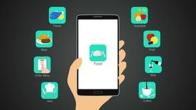 De functie van de voedseltoepassing voor slimme mobiele telefoon, chef-kok, ordemenu, vlees, vissen, groente, fruit, wijn, koffie vector illustratie