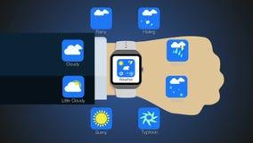 De functie van de weertoepassing voor slim horloge, mobiel horloge royalty-vrije illustratie