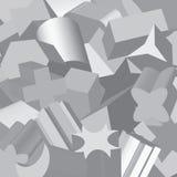De fundamentele geometrische vormen dreven in 3D uit, willekeurig overlappend, met het tonen door kanten, in grijze schaal Royalty-vrije Stock Afbeeldingen