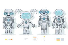 De futuristische androïde van de de kunstmatige intelligentieinformatie van robotkarakters pictogrammen van het de interface vlak vector illustratie