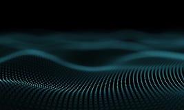 De futuristische Blauwe Abstracte Achtergrond van de Deeltjesgolf - Creatief Ontwerpelement stock video