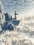 De futuristische Buitenpost van de Berg Stock Afbeelding