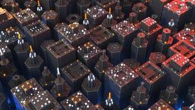 De futuristische 3D technologie microworld geeft illustratie terug royalty-vrije illustratie