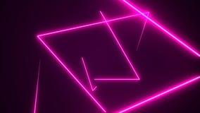 De futuristische HUD-achtergrond van de driehoekstunnel VJ 4K de grafiek van de neonmotie voor leiden stock foto