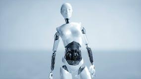 De futuristische humanoid vrouwelijke robot is nutteloos Concept toekomst Realistische 4K animatie royalty-vrije illustratie