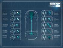 De futuristische interface van de gebruikersauto HUD UI Abstract virtueel grafisch aanrakingsgebruikersinterface Infographic auto vector illustratie