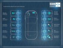 De futuristische interface van de gebruikersauto HUD UI Abstract virtueel grafisch aanrakingsgebruikersinterface Infographic auto stock illustratie