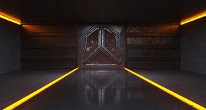 De futuristische Oude Rusty Metal Spaceship Gate In Donkere Tunnel van sc.i-FI vector illustratie