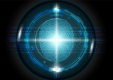 De futuristische van het de technologieconcept van het vingerafdrukaftasten vectorillustratie Stock Foto