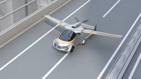 De futuristische vliegende auto stijgt van weg op stock footage