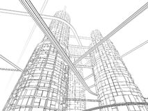 De futuristische Wolkenkrabber van de Industrie Stock Afbeeldingen