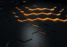 De futuristische Zwarte Weerspiegelende 3d Oppervlaktesamenvatting geeft terug Royalty-vrije Stock Foto's