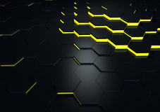 De futuristische Zwarte Weerspiegelende 3d Oppervlaktesamenvatting geeft terug Stock Fotografie
