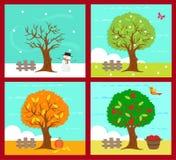 De fyra säsongerna Arkivbild