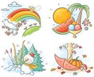 De fyra säsongerna i bilder Arkivbild