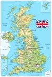 De fysieke kaart van het Verenigd Koninkrijk Stock Fotografie