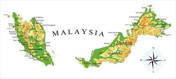 De fysieke kaart van Maleisië Stock Foto's