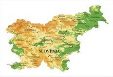 De fysieke kaart van Slovenië Stock Afbeeldingen