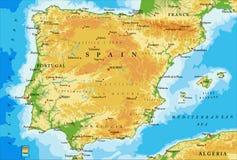 De fysieke kaart van Spanje Stock Fotografie