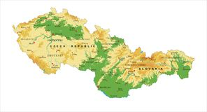 De fysieke kaart van de Tsjechische Republiek en van Slowakije Royalty-vrije Stock Afbeeldingen