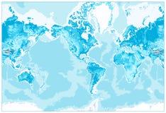 De fysieke Wereld kaart-Amerika centreerde Royalty-vrije Stock Afbeelding